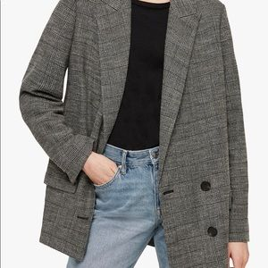Allsaints HELEI double breasted plaid check blazer